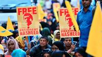 Supporters of maldives ex president mohamed nasheed hold underwater protest